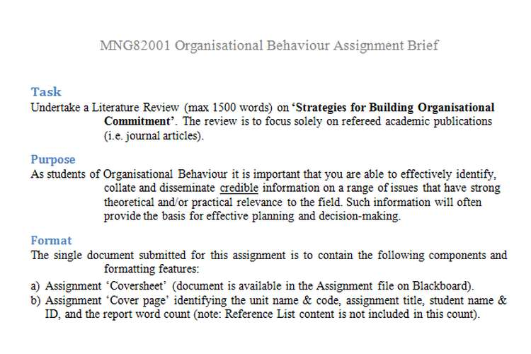 MNG82001 Organisational Behaviour Assignment Brief