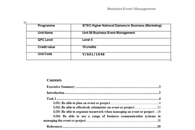Unit 38 Business Event Management Assignment