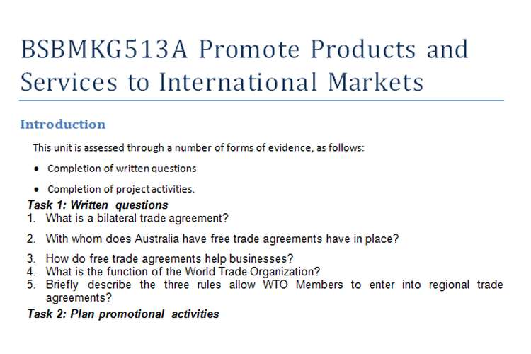 BSBMKG513A Promote Products and Services to International Markets