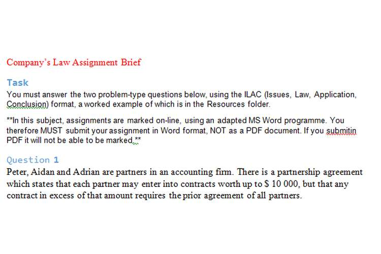Company Law Assignment Brief