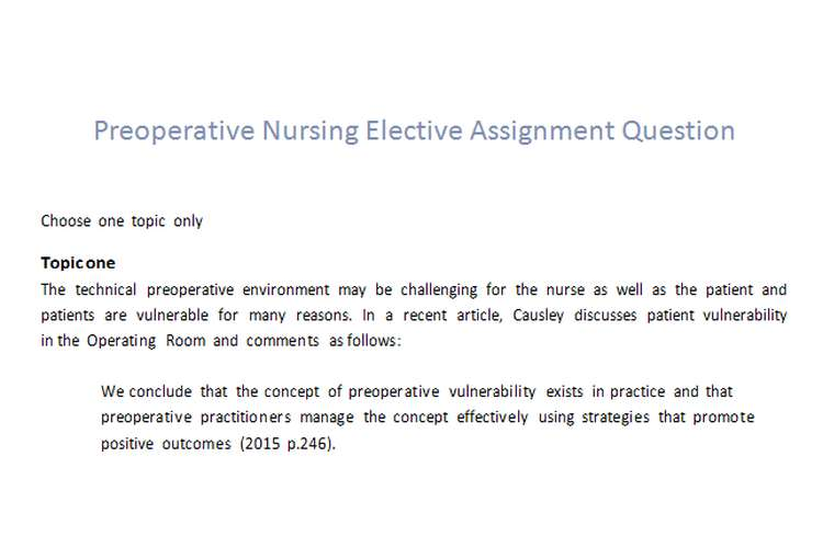Preoperative Nursing Elective Assignment Question