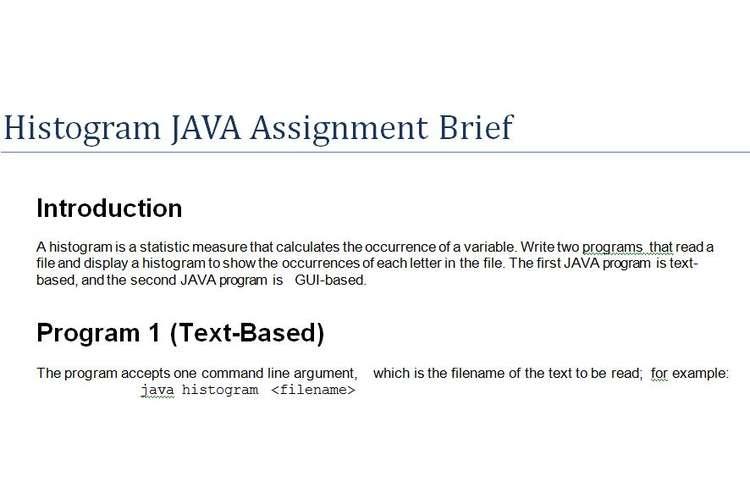 Histogram JAVA Programming Assignment Brief