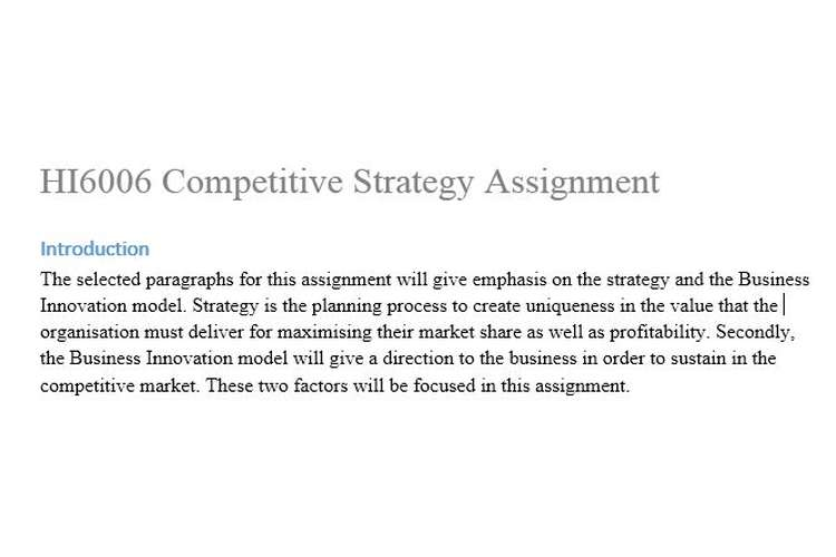 HI6006 Competitive Strategy Assignment