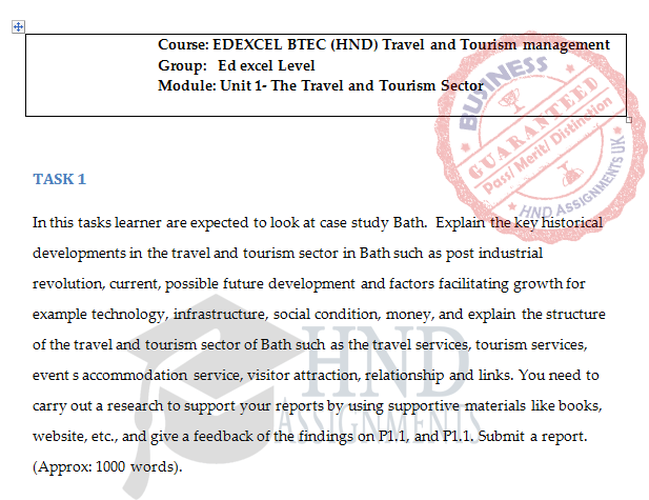 Unit 1 The Travel and Tourism Sector Assignment Brief