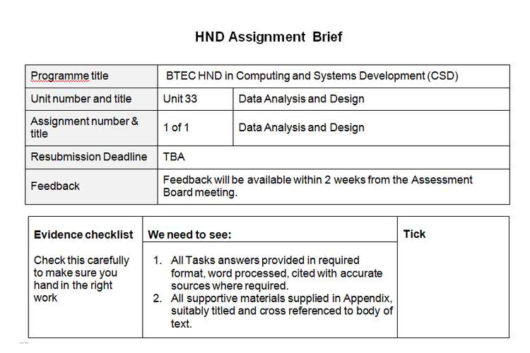 Data Analysis And Design Sample Assignment