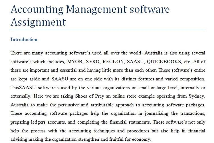 Accounting Management software Assignment