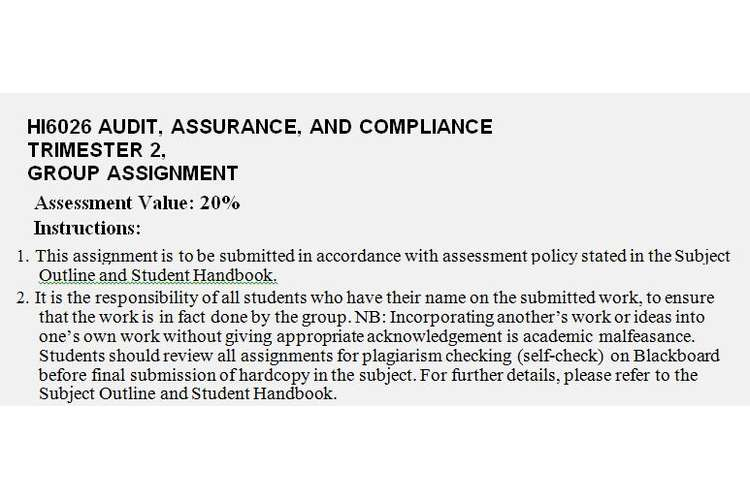 HI6026 Audit Assurance Compliance Assignment