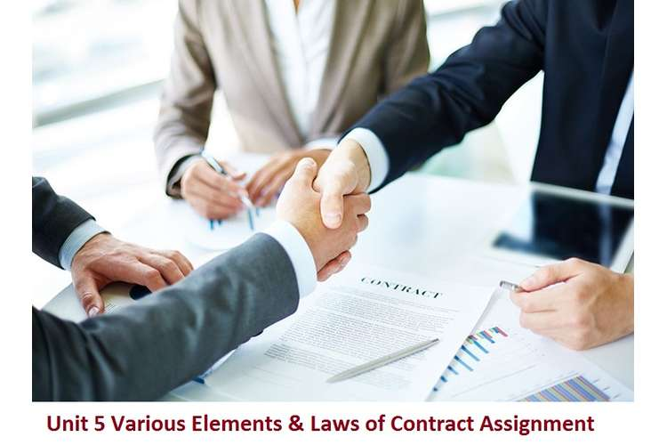 Unit 5 Various Elements & Laws of Contract Assignment