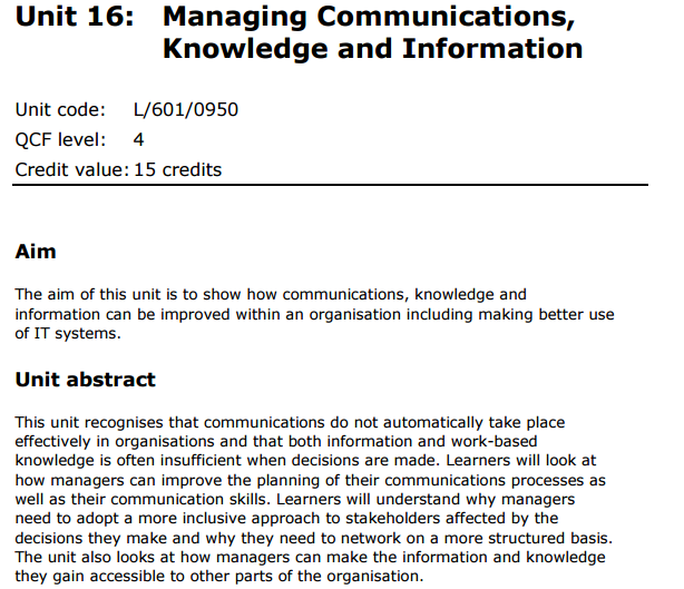 Unit 16 Managing Communications Knowledge And Information