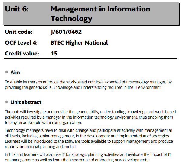 Technology Management Image: Unit 6 Management In Information Technology- Locus