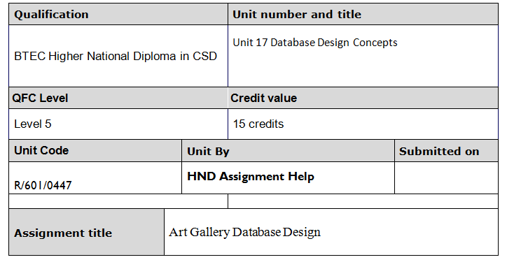 unit 18 database design assignment brief