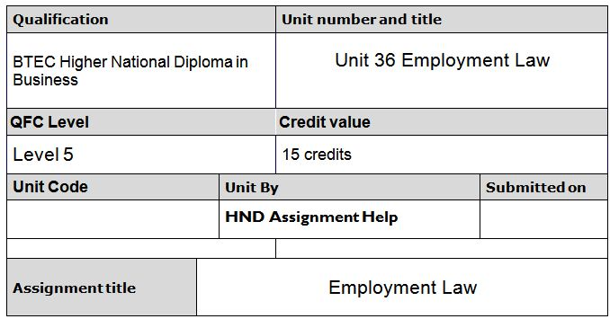 labour law assignment Employment law in canada | 1 canada has two primary sources of employment law: (1) statute and (2) the common law employment statutes.
