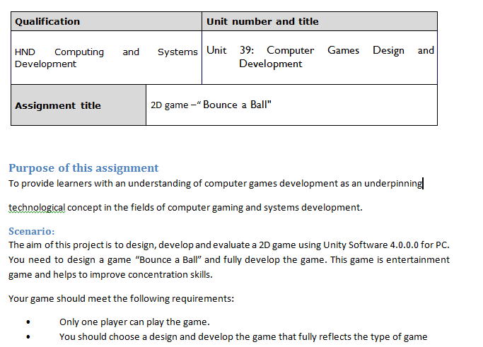 Unit 39 Computer Games Design and Development Assignment Brief