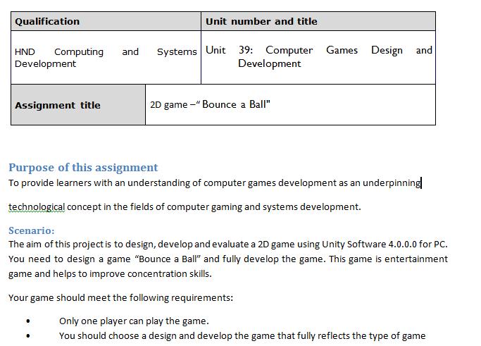 Unit 39 Computer Games Design and Development Assignment Brief