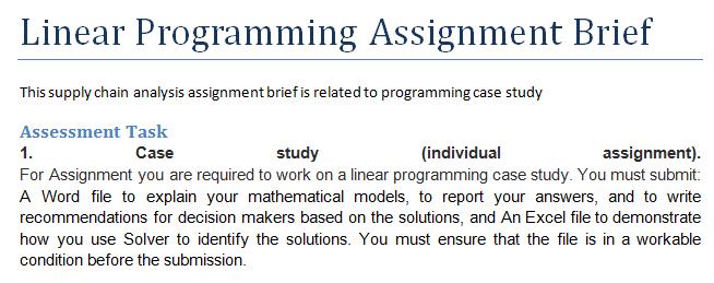 Linear Programming Assignment Brief | OZ Assignment Help