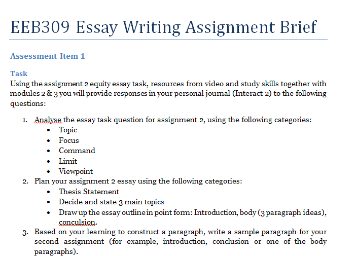 learning to write essays and assignments