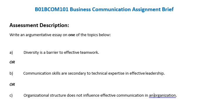Bbcom Business Communication Assignment Brief  Oz Help
