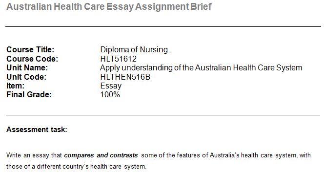 australian health care essay assignment brief  oz assignment help