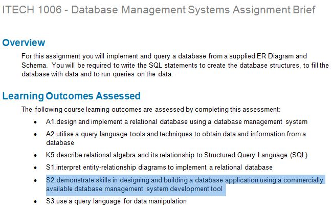 Itech 1006 database management systems assignment brief itech1006databasemanagementsystemsassignmentbriefg ccuart Images