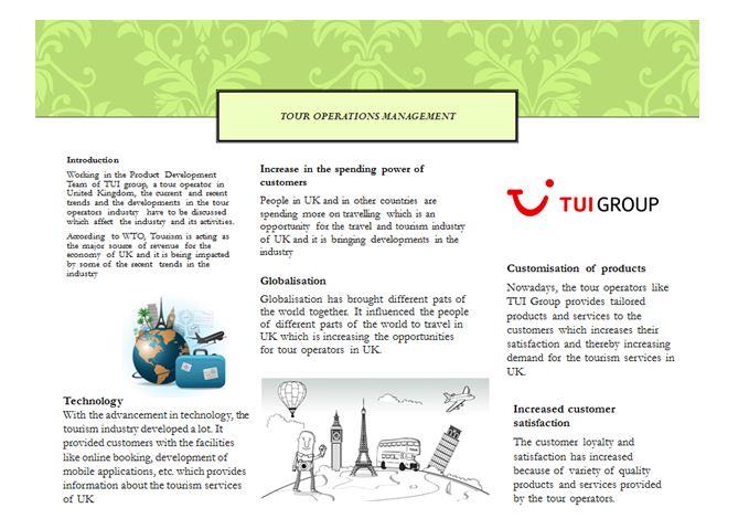 Unit 14 Tour Operations Management Assignment -TUI Group