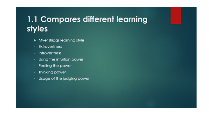 what are the different styles of learning called