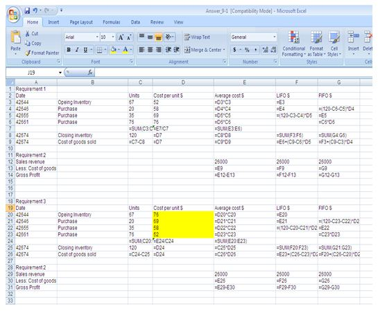 Application of Inventory flow assumptions formula view