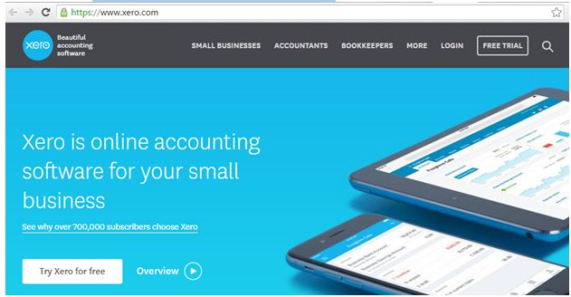 Web page of XERO accounting software