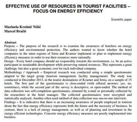 Effective Use of Resources in Tourist Facility Focus on Energy Efficiency