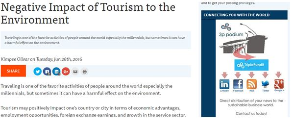Negative Impact of Tourism to the Environment