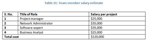 Team member salary estimate