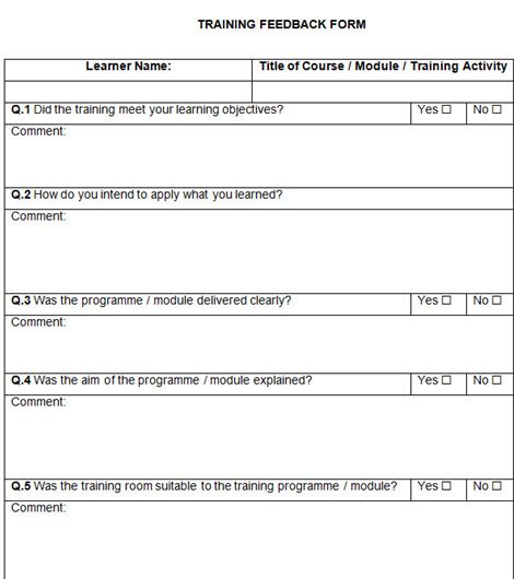 3. Copies of the written feedback on template